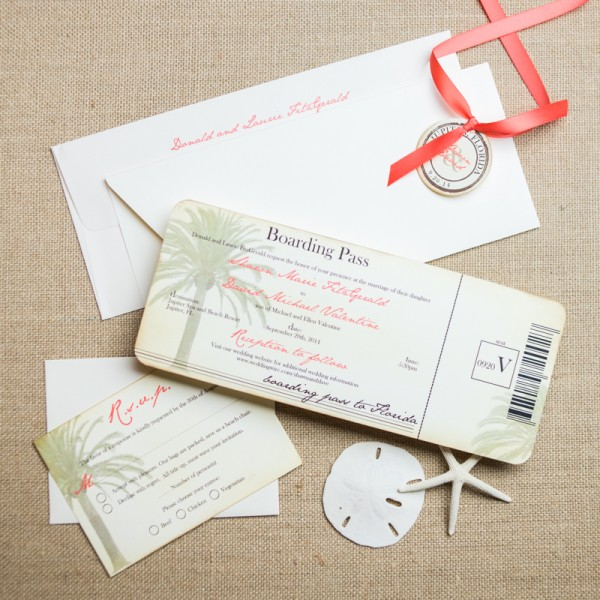 vintage boarding pass wedding invitations
