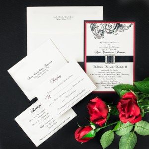 victorian scroll wedding invitations