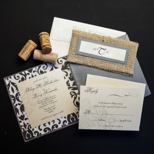rustic damask wedding invitations