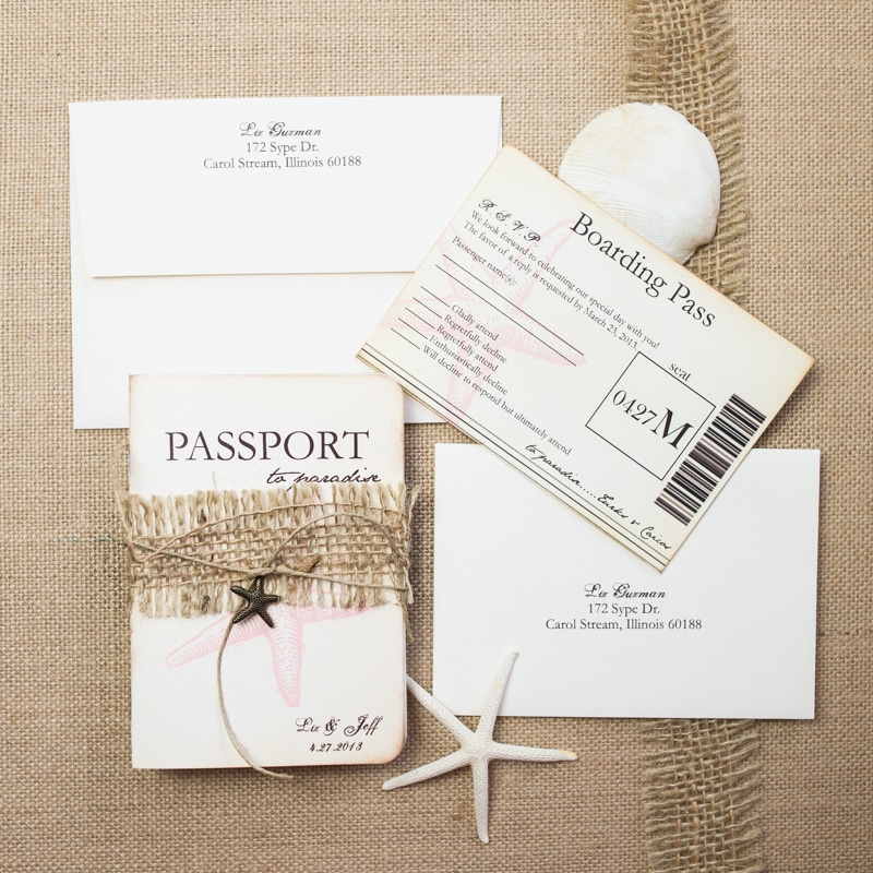 Starfish Passport Wedding Invitations - Too Chic & Little Shab ...