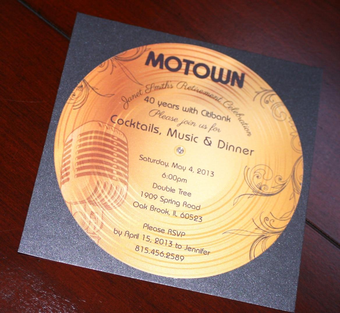 Gold Record Motown Retirement Invitation - Too Chic ...