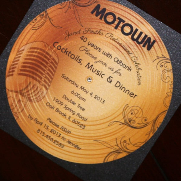 Gold Record Motown Retirement Invitation - Too Chic ...