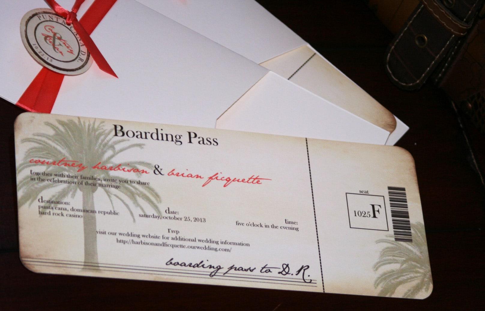Boarding Pass Wedding Invitation: Vintage Boarding Pass Wedding Invitations