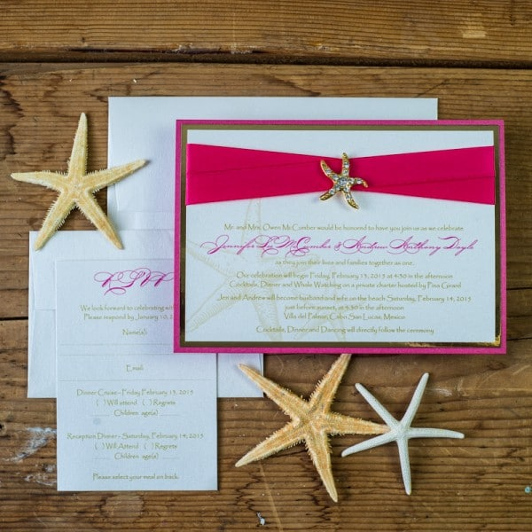 hot pink starfish invitations