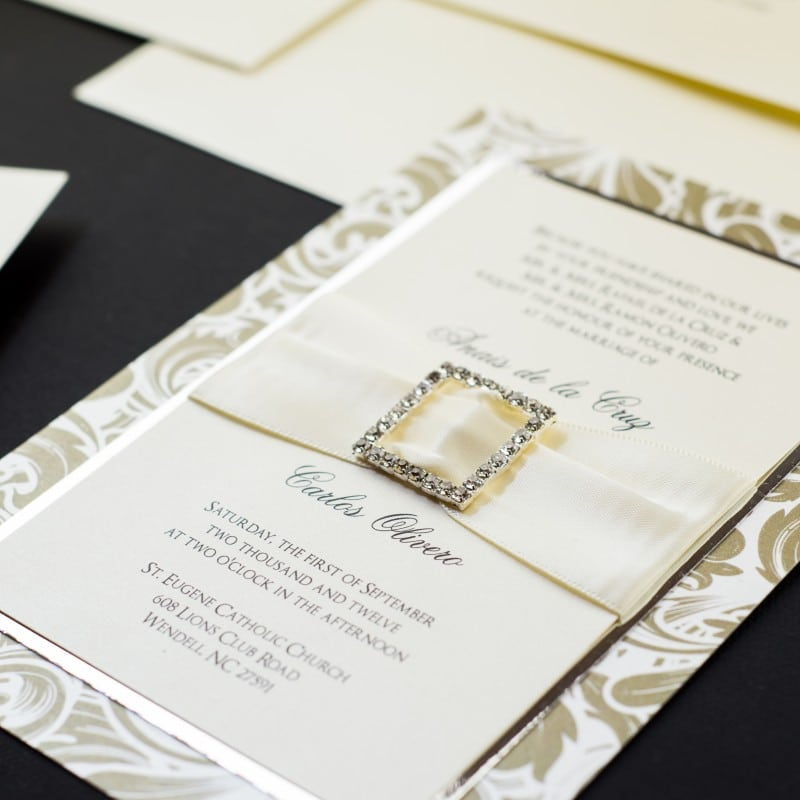 Gold Flourish Wedding Invitations - Too Chic & Little Shab Design ...