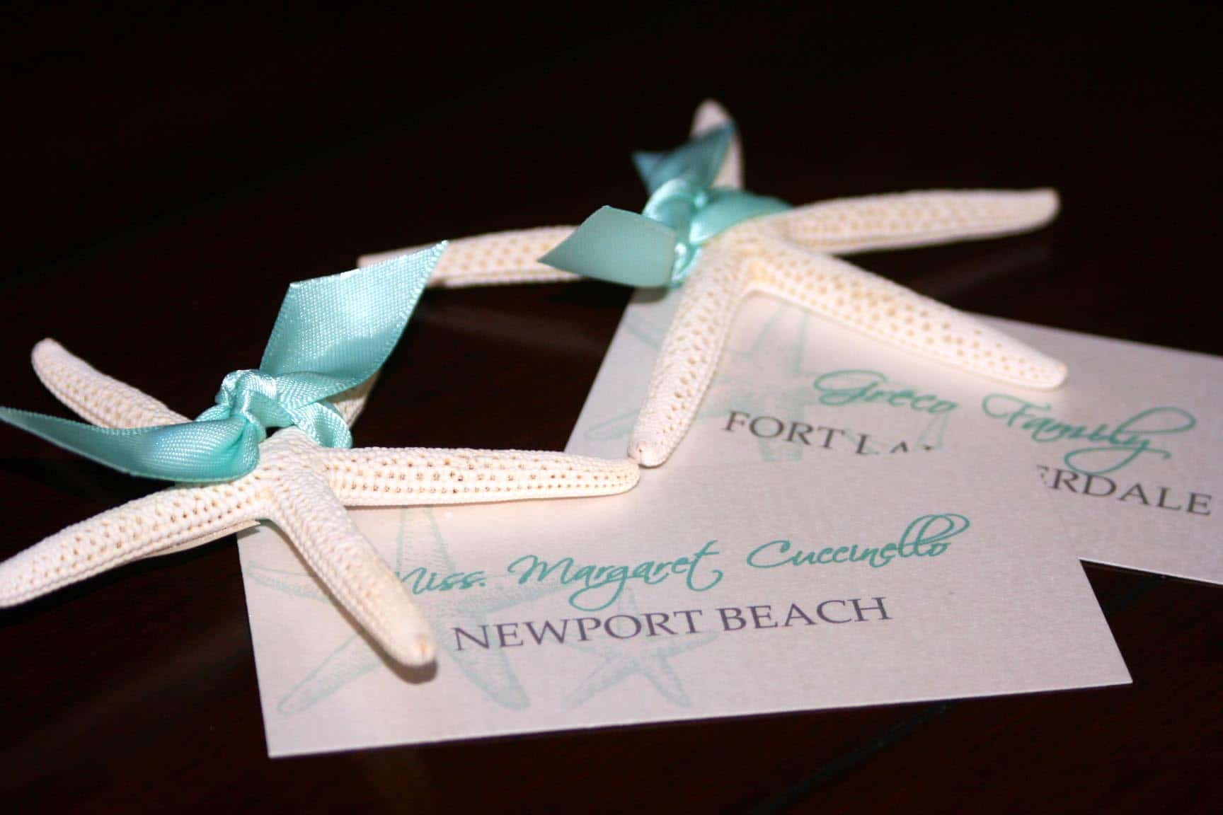 Chic Place starfish wedding place cards - too chic & little shab design studio