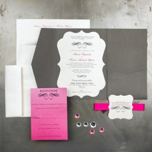 charcoal and fuchsia wedding invitations