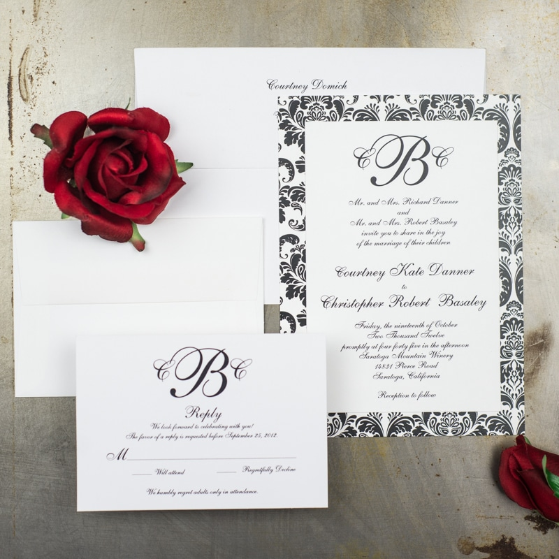 Damask Wedding Invitations Too Chic Little Shab Design Studio Inc