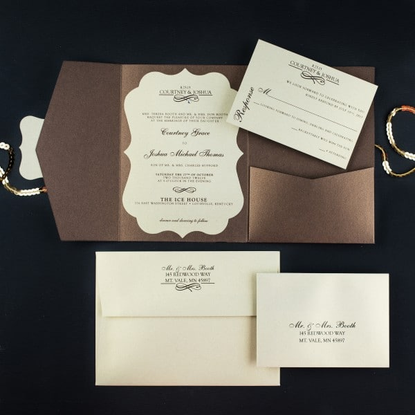 bronze wedding invitations