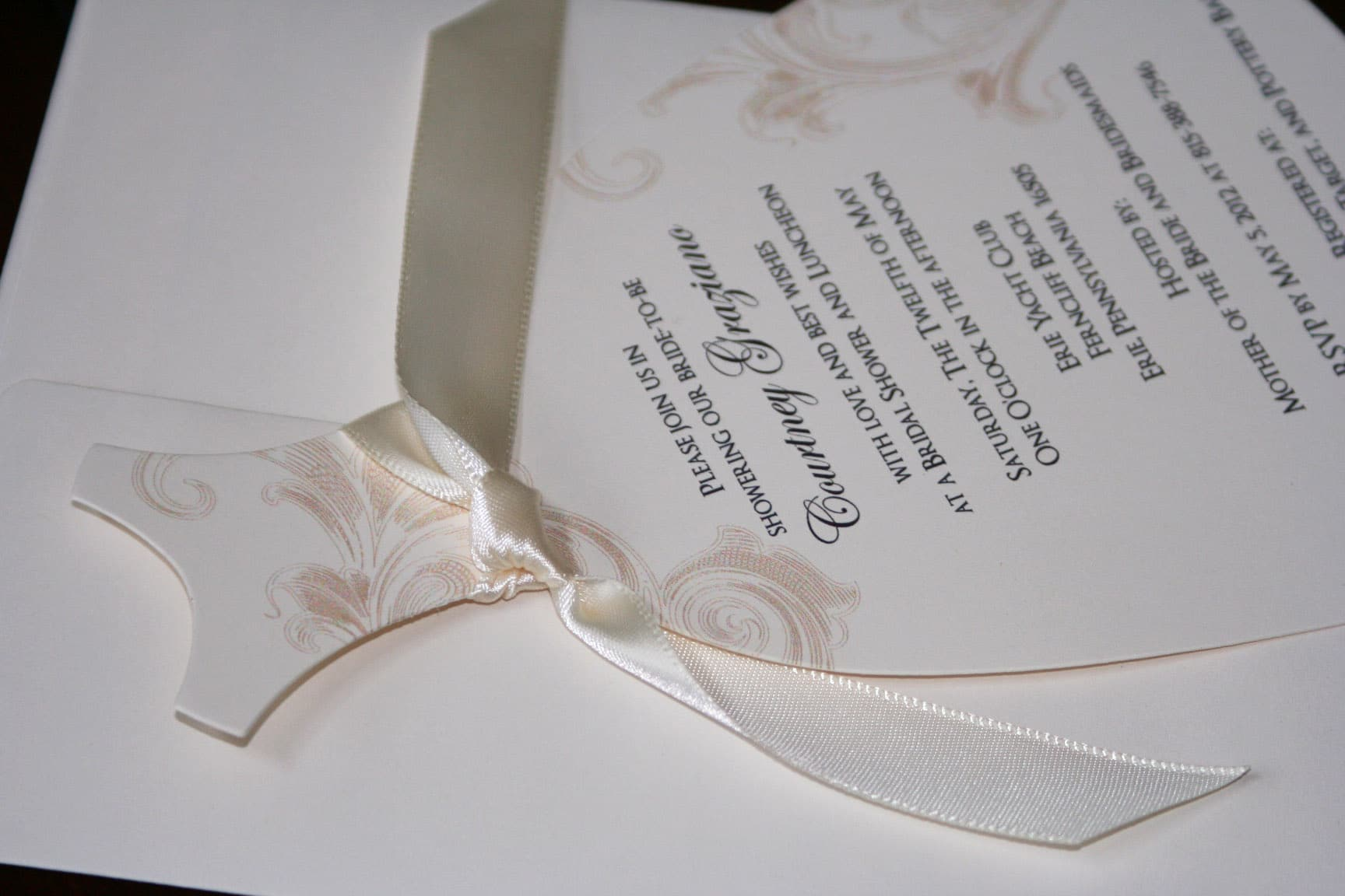 Wedding dress shower invitations too chic little shab for Wedding dress bridal shower invitations