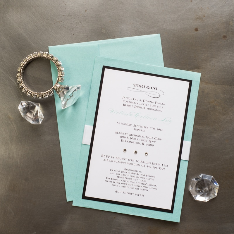 tiffany themed bridal shower invitations too chic little shab