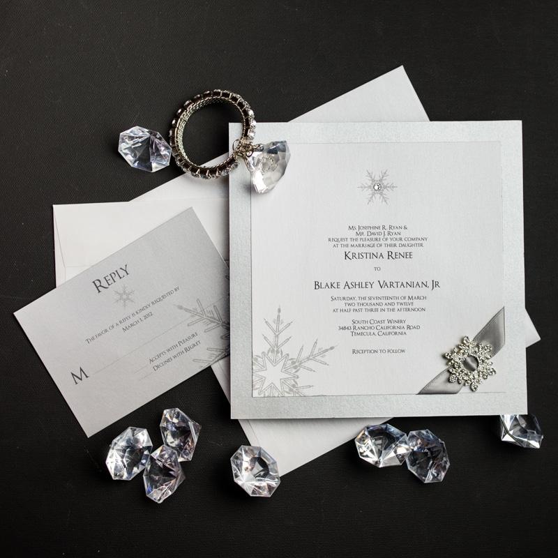 Snowflake Wedding Invitations - Too Chic & Little Shab Design Studio ...