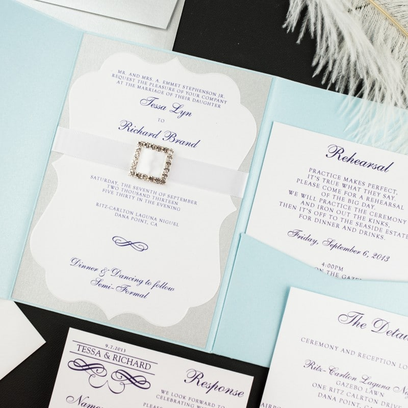 Light Blue and Silver Wedding Invitations - Too Chic & Little Shab ...
