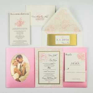 pink peony wedding invitations