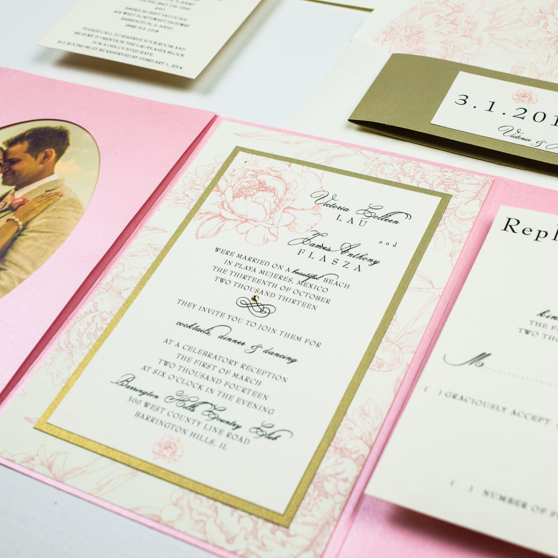 Pink Peony Wedding Invitations - Too Chic & Little Shab Design ...