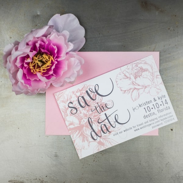 pink peony save the dates