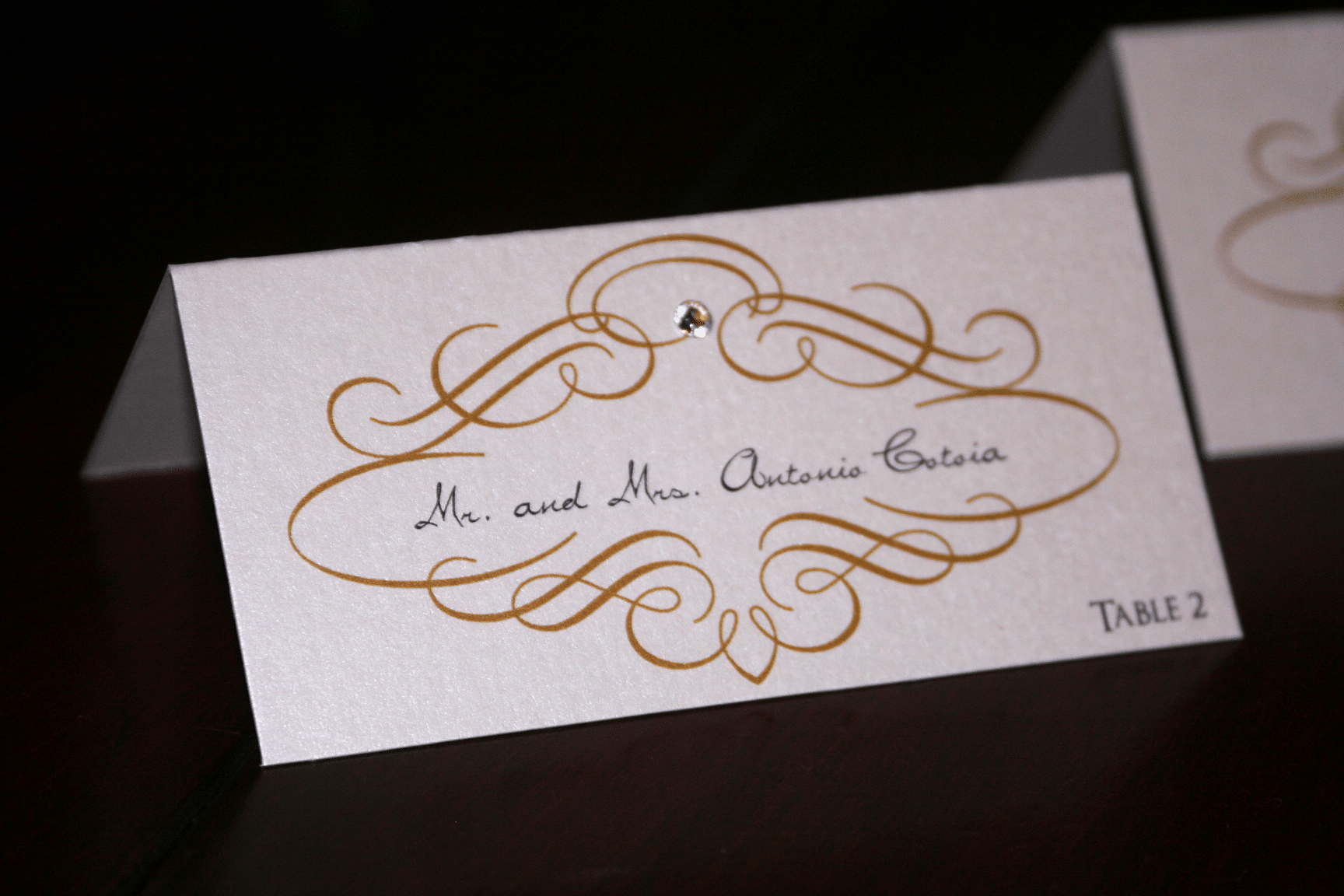 Gold Scroll Wedding Place Cards Too Chic & Little Shab Design