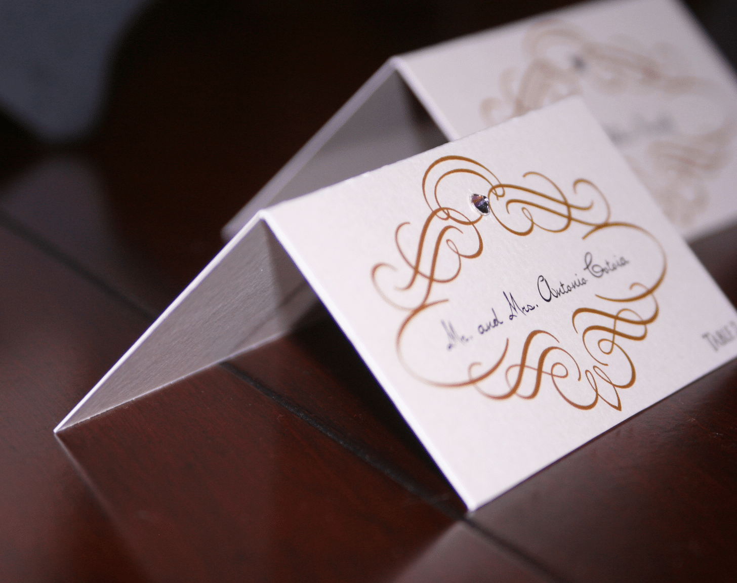Gold Scroll Wedding Place Cards - Too Chic & Little Shab Design ...