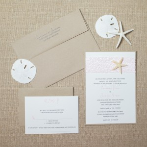 tan starfish wedding invitations