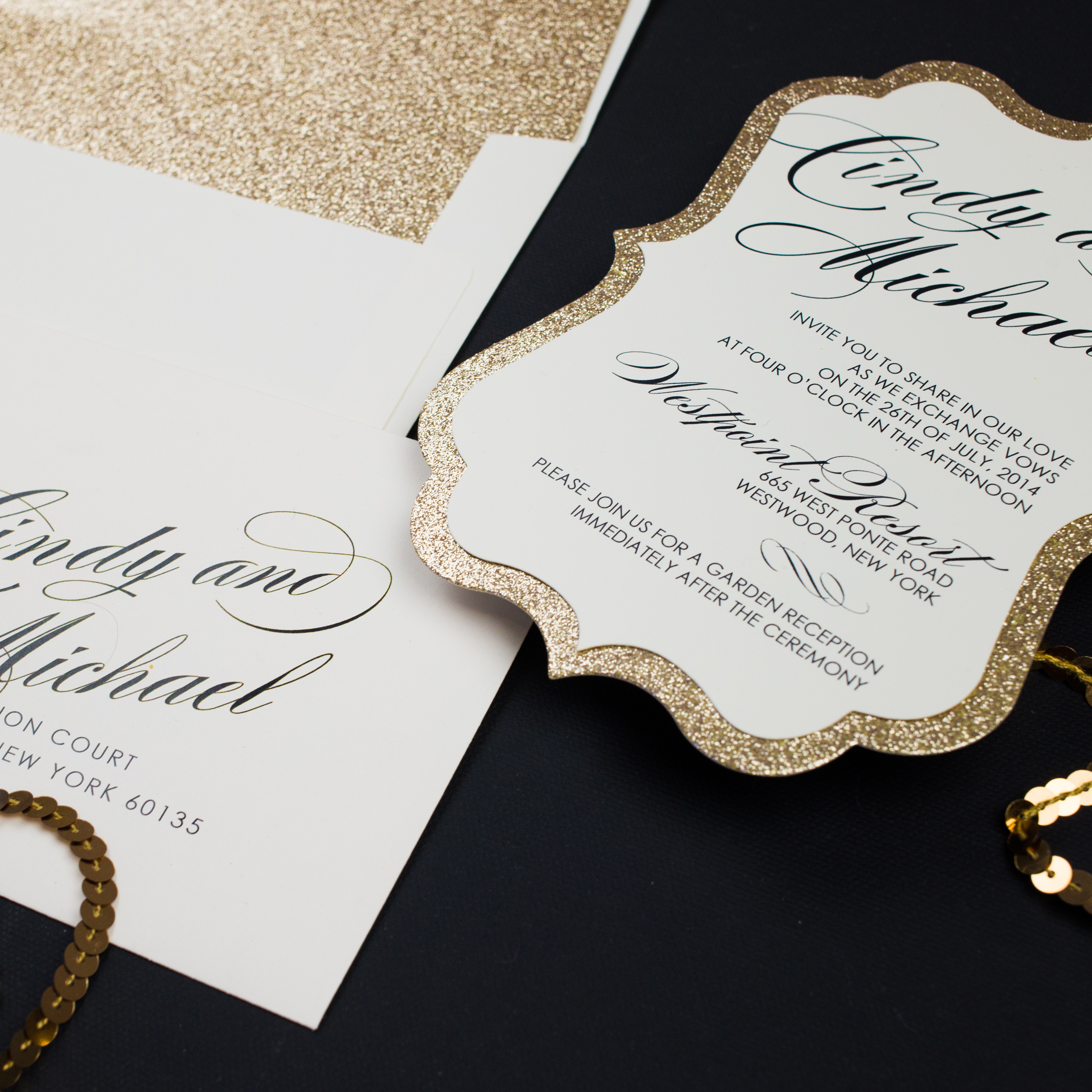 Gold Glitter Wedding Invitations Too Chic Amp Little Shab