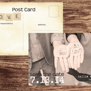 Scrabble Save the Date cards