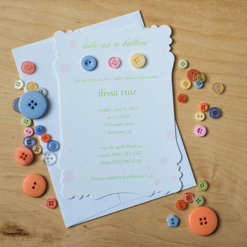 Cute as a button baby shower invitations too chic little shab cute as a button baby shower invitations filmwisefo