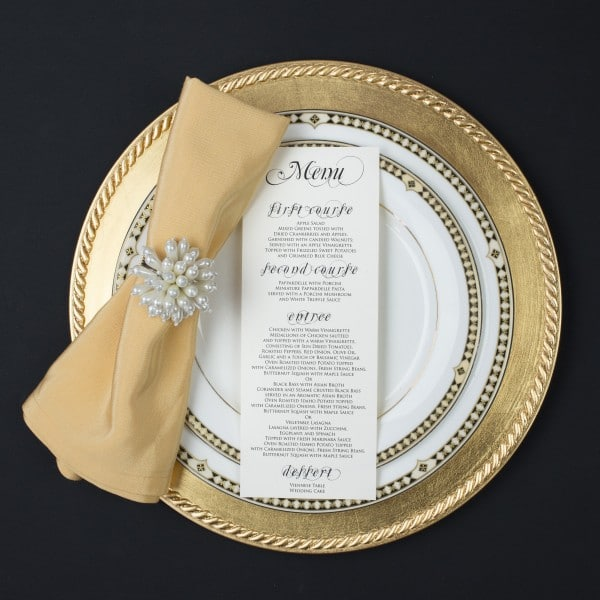 script wedding menus