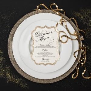 glitter wedding menus