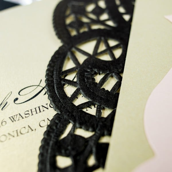 black lace wedding invitation