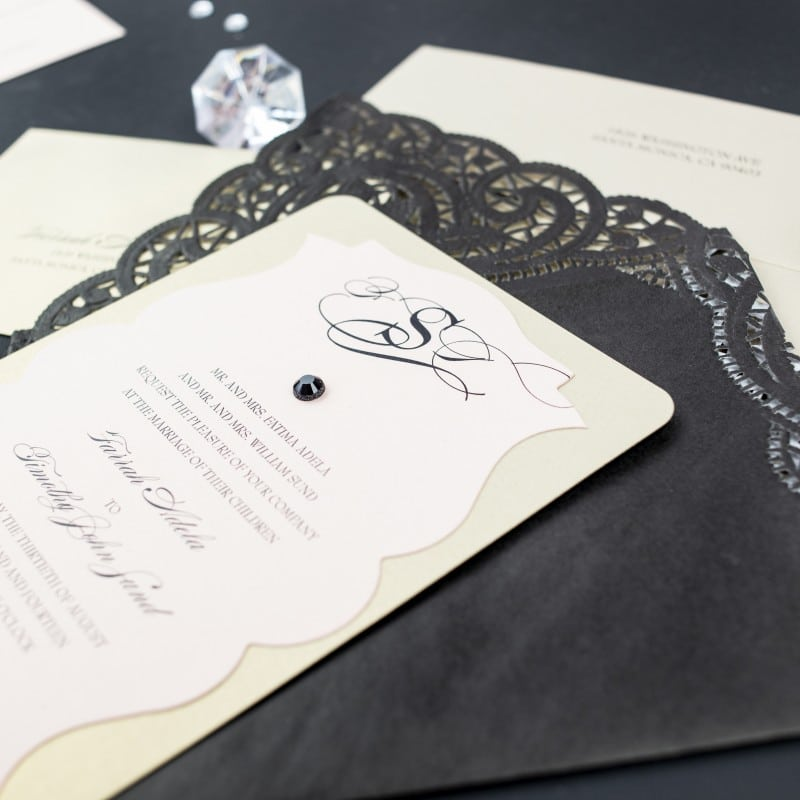 Black Lace Wedding Invitations - Too Chic & Little Shab Design ...
