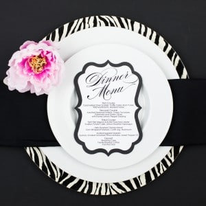 black and white wedding menu cards