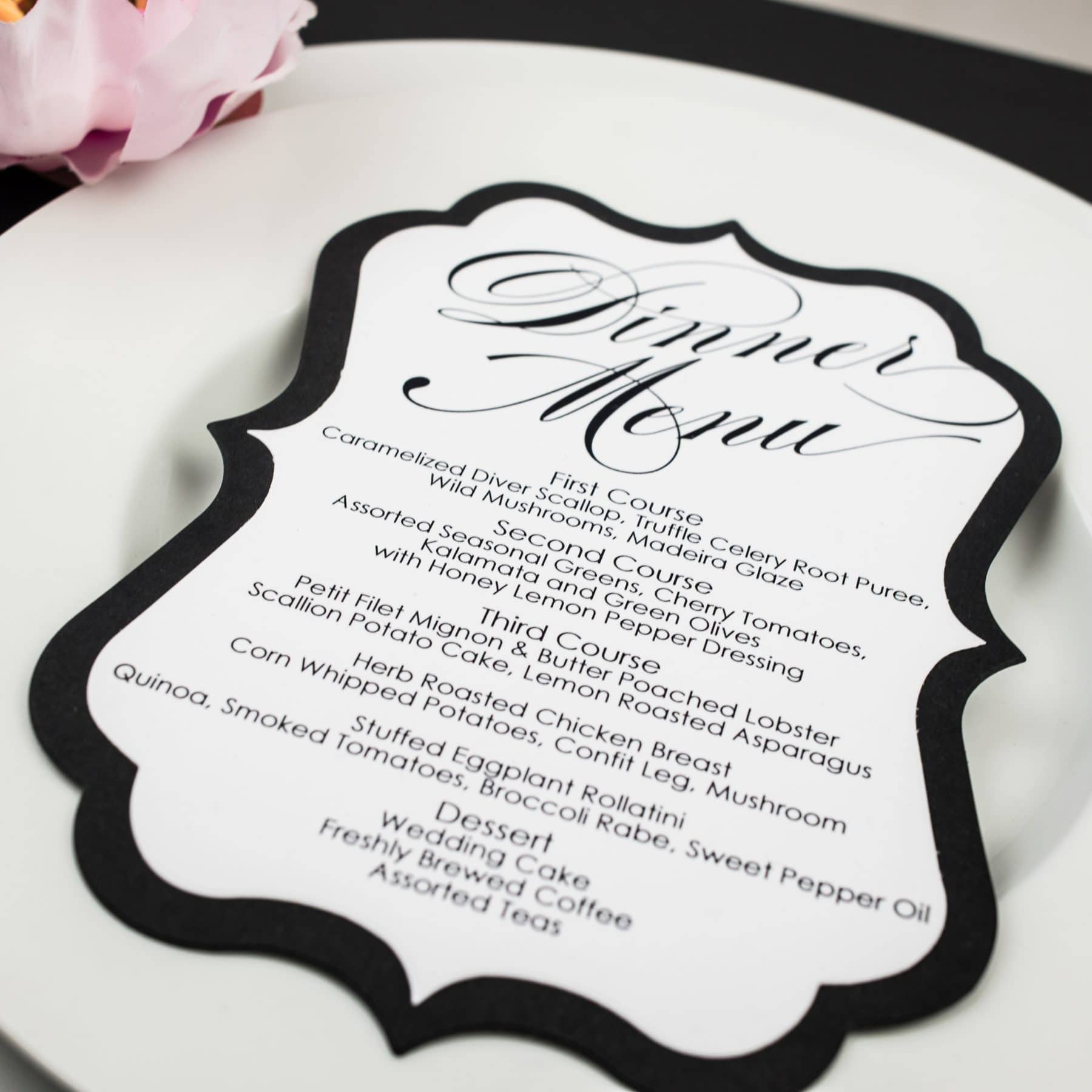 Black and White Wedding Menu Cards - Too Chic & Little Shab Design ...