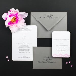 blush and gray chevron wedding invitations