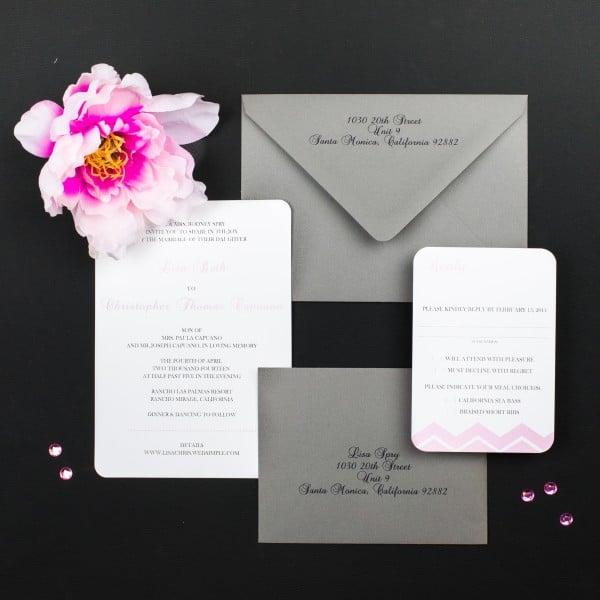 blush and gray chevron wedding invitations
