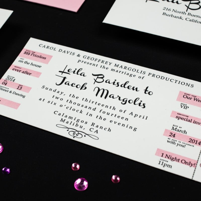 concert ticket wedding invitations too chic little