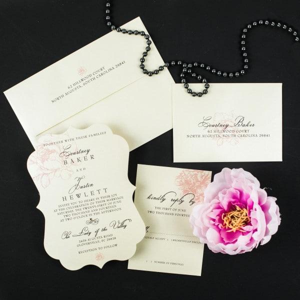 blush peony wedding invitations