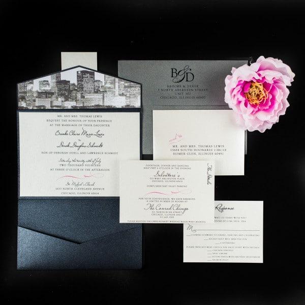 chicago skyline wedding invitations