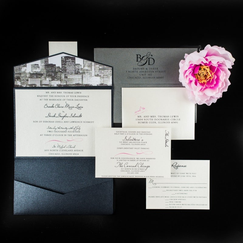 Chicago Skyline Wedding Invitations Too Chic Little Shab Design