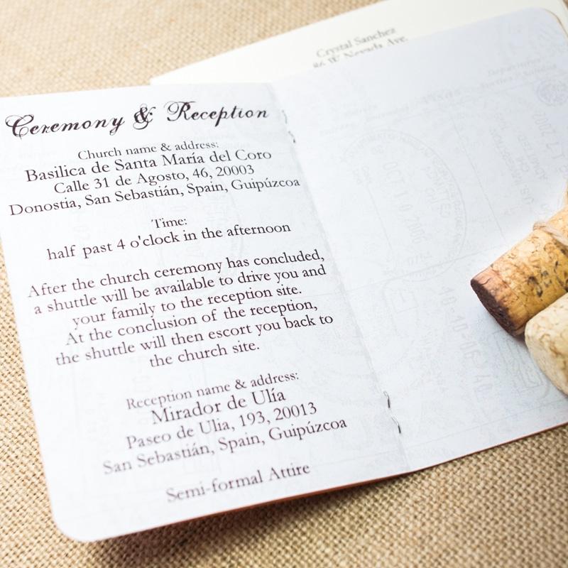 Spain Passport Invitations - Too Chic & Little Shab Design Studio ...