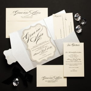 glitter pocket fold wedding invitations