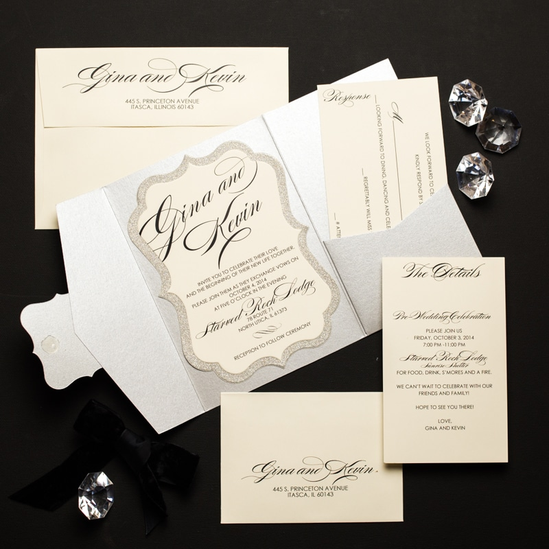 Glitter Pocket Fold Wedding Invitations - Too Chic & Little Shab ...