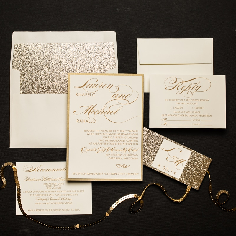 Champagne glitter wedding invitations too chic little shab champagne glitter wedding invitations stopboris Choice Image