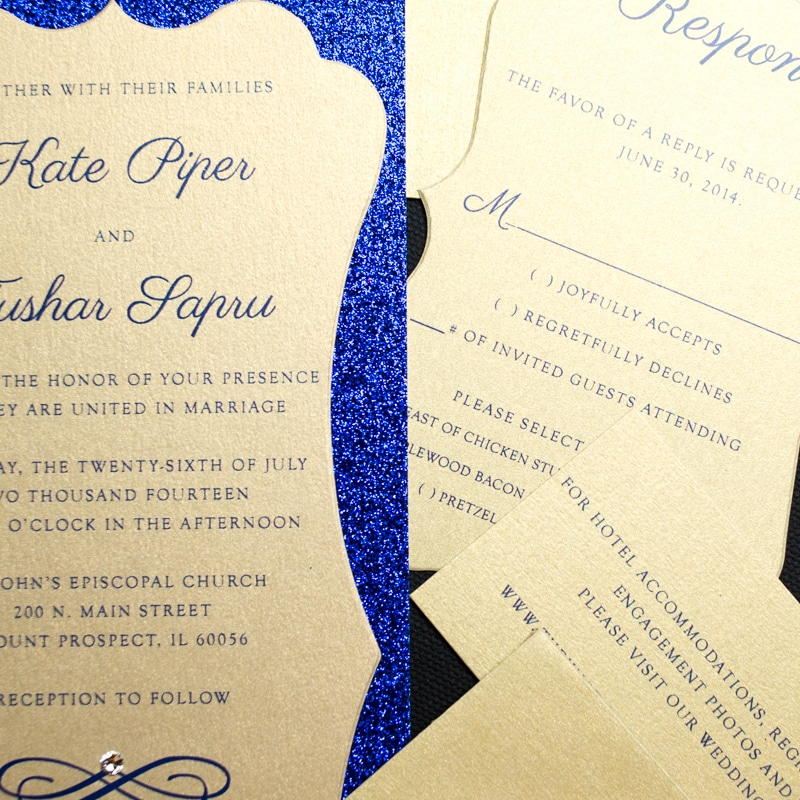 Blue And Gold Wedding Invitations 035 - Blue And Gold Wedding Invitations