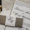 champagne glitter wedding invites