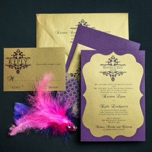 plum and gold wedding invitations