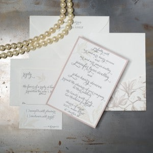 raw silk ecru and rose wedding invitations