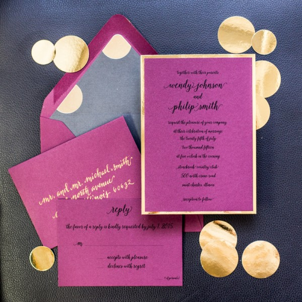 burgandy and gold wedding invitations