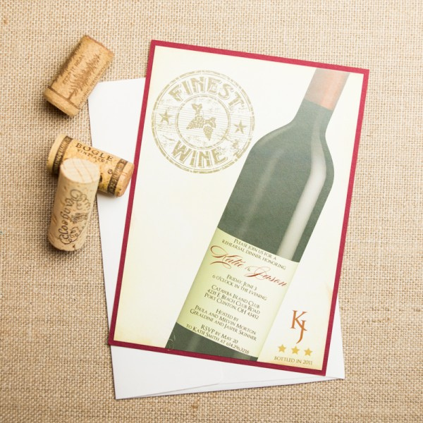 wine themed rehearsal dinner invitations