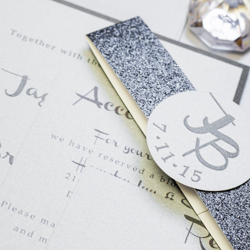 modern silver wedding invitations