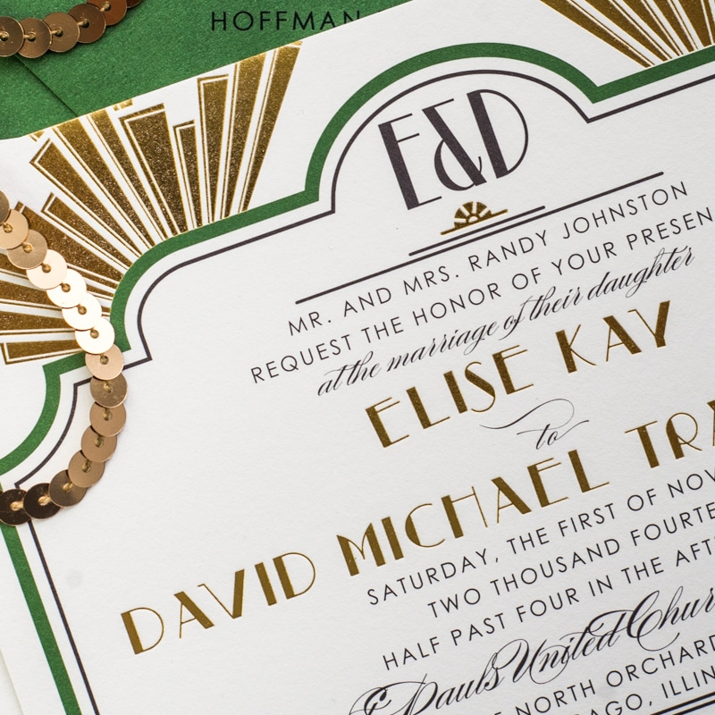 art deco wedding invites